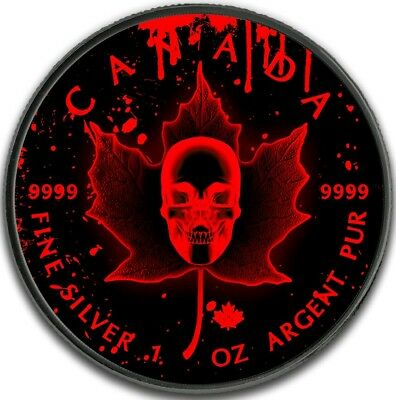 2018 1 Oz Silver Canada $5 BLOOD SKULL MAPLE LEAF Ruthenium Coin.