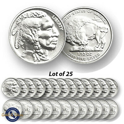 Lot of 25 -- New 1/10 oz Indian Buffalo Design .999 Fine Silver Rounds