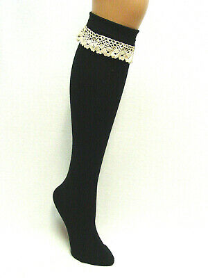 71ec20f7ab2 TWO Pair womens cotton blend knee high boot socks Black with Lace top sz 9-