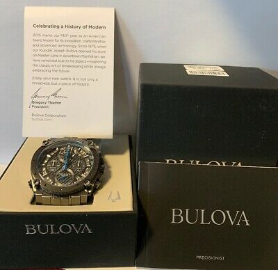 Bulova 98B229 Precisionist Chronograph Watch In Gunmetal Gray Men's Watch NEW