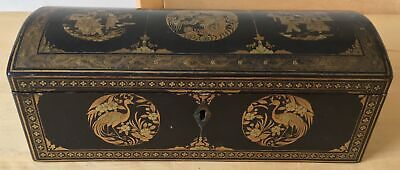 antique CHINESE LACQUER JEWELLERY BOX with DRAGONS BIRDS of PARADISE PAGODA