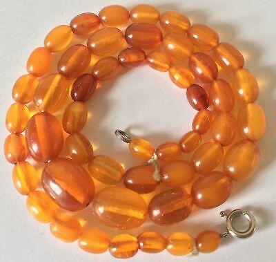 graduated antique BALTIC AMBER olive bead NECKLACE 44cm chinese interest