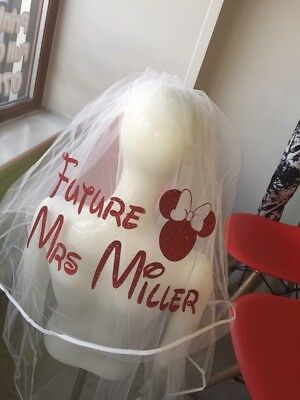 Personalised Veil Minnie Mouse Inspired Hen Party Glitter Stunning 👰 Bride