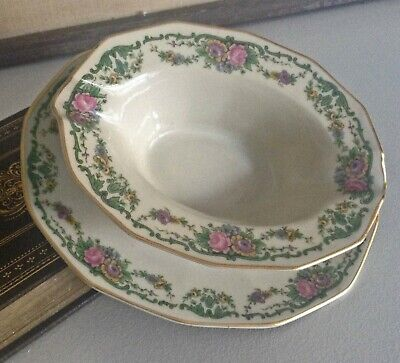 CH FIELD HAVILAND GDA LIMOGES Pink Roses Yellow Flowers Green Gravy Boat/ Plate