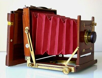 """New Red Leather Bellows.mahogany 1/2 Plate Camera +D.d.s 1900 Ross 7"""" Brass Lens"""
