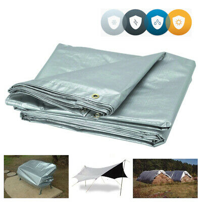 4m x 8m Professional Tarpaulin Strong Heavy Duty Waterproof Cover Roof Silver