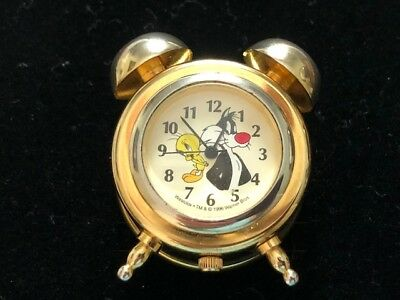 Tweety Bird & Sylvester Looney Tunes Westclox Warner Bros 1996 Miniature Clock