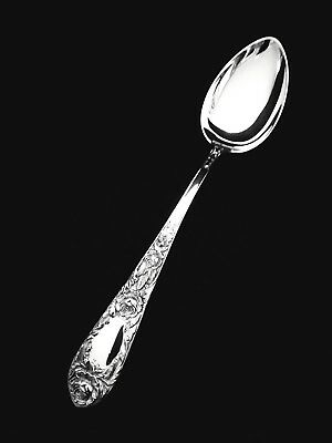 """🥄 S. Kirk and Son Sterling Silver Rose Oval Soup Dessert Spoon - 7 1/2"""" 👍"""