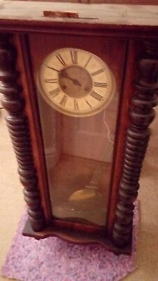 Vintage Wall Clock, Dark Wood Wall Clock Key Wind Up Movement With 1/2 Hour Gong