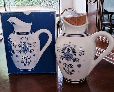 Vintage ROYAL DELFT Small Pitcher Blue/White Floral Pattern/STAMPED/HOLLAND