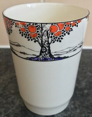 "RARE art deco 1930s CROWN DUCAL ORANGE TREE 4"" BEAKER cup"