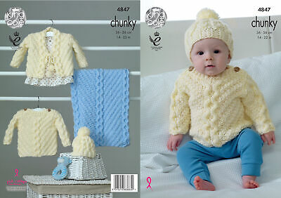 KNITTING PATTERN Baby Cable Cardigan Hoodie Jumper /& Hat Chunky KC 4351