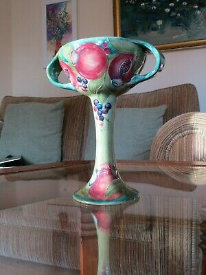 Rare William Moorcroft pomegranate on celadon chalice circa 1910