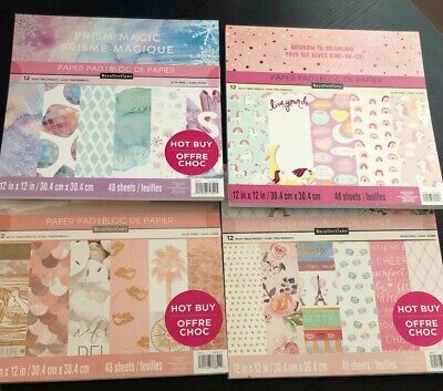 "(4) RECOLLECTIONS Scrapbook Paper Pad 48 Sheets 12""x12"" New"