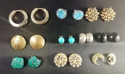 BIG LOT OLD VINTAGE ANTIQUE JEWELLERY CLIP EARRINGS 10 PAIRS DIFFERENT 40s 50s
