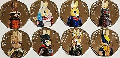 Flopsy bunny superheros 50p 2018 coin stickers high quality and colour x 8