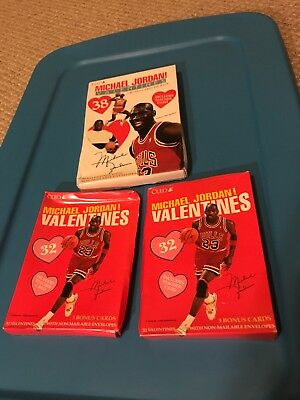 aaffc0b75f07a8 Michael Jordan Valentines By Cleo Box Set of 32 and 38 Sealed Lot of 3  1990 s