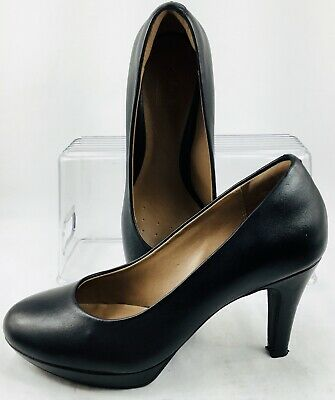 e2981368d3a Clarks Brier Dolly Pumps Womens 6.5 M Black Leather Collection Slip On Heel  Shoe
