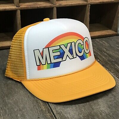 ef8e7dc1d4a Mexico Rainbow Trucker Hat Vintage 80s Style Snapback Vacation Beach Party  Pride