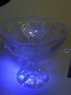 Antique EAPG,circa 1895 George Duncan & Sons USA Antique Glass Compote, Glows.