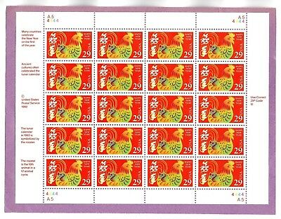 U.S. SHT OF 20 SCOTT#2720 1992 29ct CHINESE NEW YEAR ROOSTER MNH P#A5-4444 @FACE