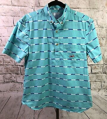 ba658b7c1 Chubbies The Nutter Short Sleeve Polo Shirt Mens Medium 2 Button Stripe Blue