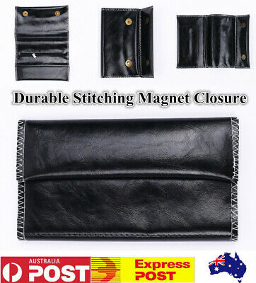 Cigarette Tobacco Pouch Case PU Leather Rolling Paper Foldable Men's Gift Black