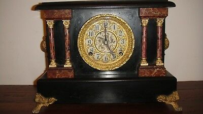 Antique 8 Day Sessions Clock, Ornamental Face, Cathedral Gong And ½ H Bell