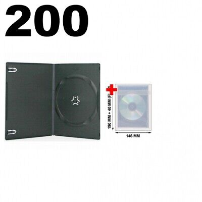 200 SLIM Black Single DVD Cases 7MM & 100 OPP Plastic Wrap Bag