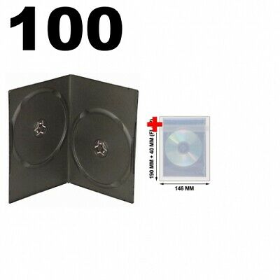 100 SLIM Black Double DVD Cases 7MM & 100 OPP Plastic Wrap Bag