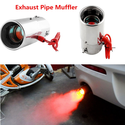 Universal Car LED Exhaust Pipe Spitfire Red Light Flaming Muffler Tip 30 ~ 63mm