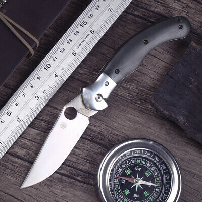 High quality black g10 handle stainless steel blade folding pocket hunting knife
