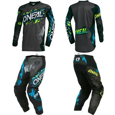 ONeal Element Villain Gray motocross MX dirt bike gear - Jersey Pants combo set