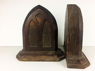 Antique Wood Bookends Cathedral Window Arched Vintage Americana Craft Gothic