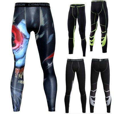 Mens Compression Thermal Under Base Layer Fitness Pants Skins Leggings Trousers