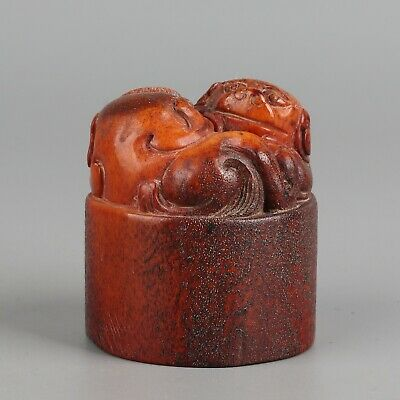 Chinese Exquisite Hand-carved beast Carving antlers seal