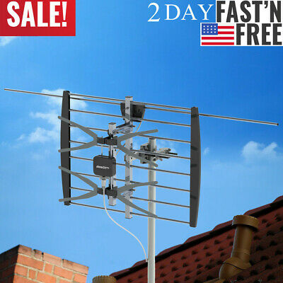 200 Miles TA-W2 2 Grids Outdoor Amplified   TV Antenna + 10m Cable + Black Stand