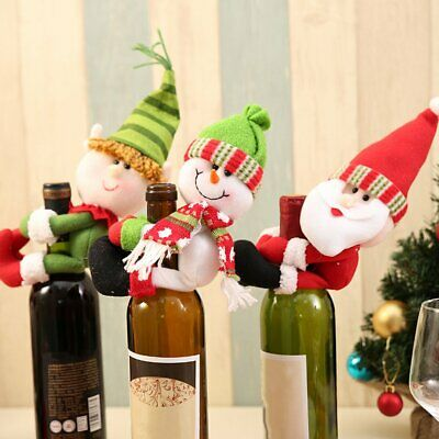 Christmas Party Home Decor Red Wine Bottle Hold Ornament Table Decoration DA