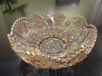 Vintage Imperial Cut Crystal Gold Embellished Bowl