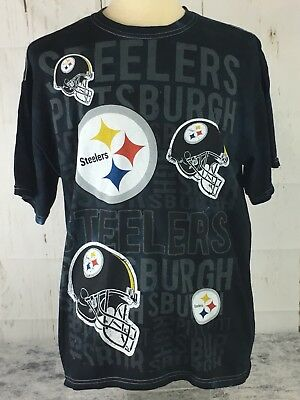 NFL Team AppareL Pittsburgh Steelers Football Size Large Black T-shirt e737aee15
