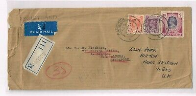 Burma 1946 Reg cover to Singapore +tri-color franking + rerouted to UK + Neat
