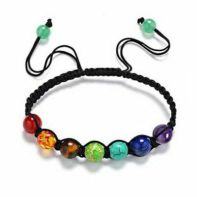 7 Chakra Healing Balance Beaded Stones Braid Yoga Reiki Prayer Bracelet Bangle