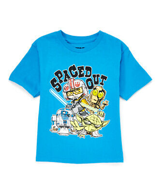 """NWOT Star Wars """"Spaced Out"""" Boys Blue Short Sleeve Shirt 4T 5T"""