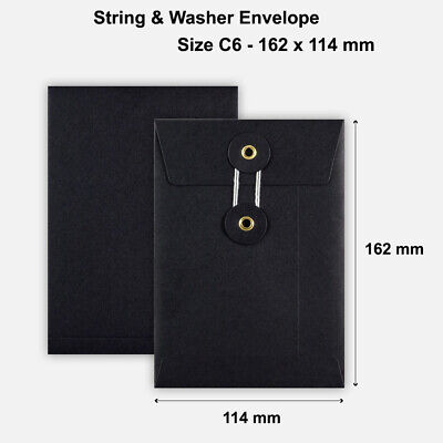 100 x C6 Quality String&Washer W/O Gusset Envelopes Button-Tie Black Cheap