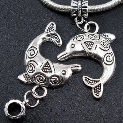 Large Patterned Tibetan Silver Dolphin Charm Bead for European Style Bracelets