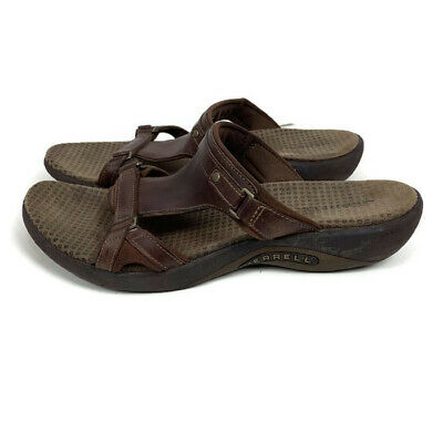 550be63e9f82 Merrell size 9M Glade brown leather slides womens ladies sandals shoes  J36616