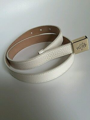 d044de4815 MULBERRY OFF WHITE LEATHER BELT WITH MULBERRY LOGO TREE ON GOLD BUCKLE size  XS