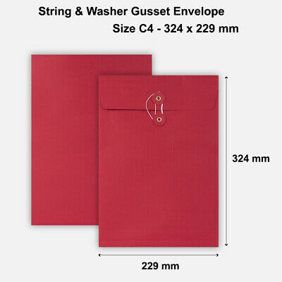 25 x C4 Quality String&Washer With Gusset Envelopes Button-Tie Red Cheap