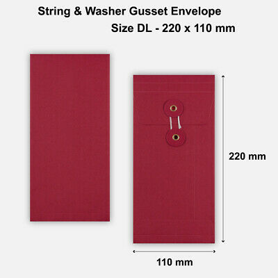 10 x DL Quality String&Washer With Gusset Envelopes Button-Tie Red Cheap
