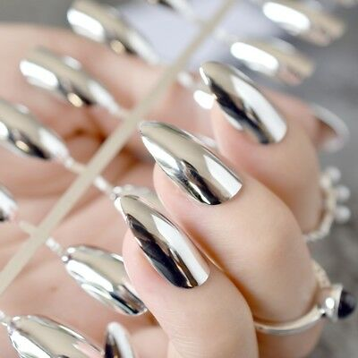 Metallic Mirror Stilettos Sharp False Nail Metal Silver Fake Nails Acrylic N21